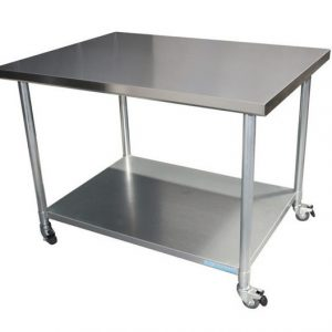 Stainless Steel Coffee Trolley with 4 castors with brakes